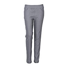 Girls Dark Grey Fitting Cotton Stretch Pants
