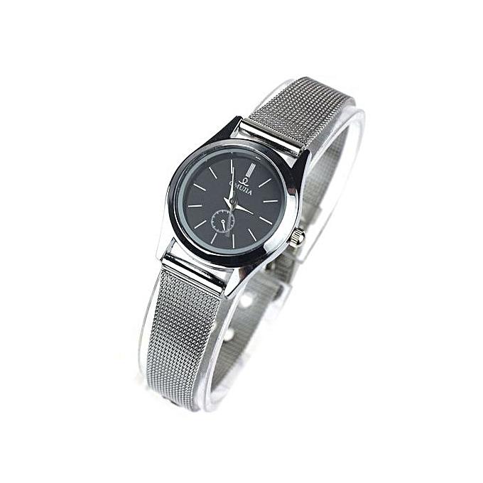 Black Dial Stylish Couple Lover Stainless Steel Quartz Wrist Watch Women ...