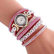 Women Ladies Metal Decorative Circle Quartz Watch Winding Bracelet PK