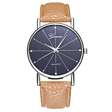 Watch Women's Fashion Casual  Leather Strap Analog Quartz Round Watch-Beige