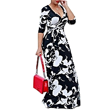 Plus Size Floral Printed Party Maxi Dress Ankara Gown Style-Black