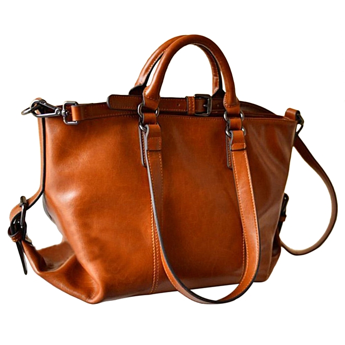 Retro Design Women Cool Wax Leather Handbag Tote Shoulder Bag Crossbody Orange