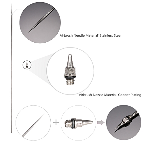 Generic 0.3mm Airbrush Nozzle And Needle Replacement for Airbrushes Spray Gun Model Spraying Paint Maintenance Tool Accessories