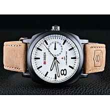 Men's Leather Strap Sport Military Army Leather Strap Quartz Wrist Watch