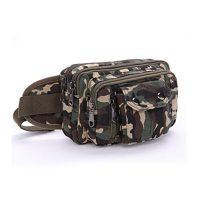 aa930b88ccdd Men Canvas Khaki Black Coffee Casual Zipper Outdoor Crossbody Waist Bag