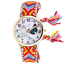 Women Butterfly Knitted Weaved Rope Band Bracelet Quartz Dial Wrist Watch OR