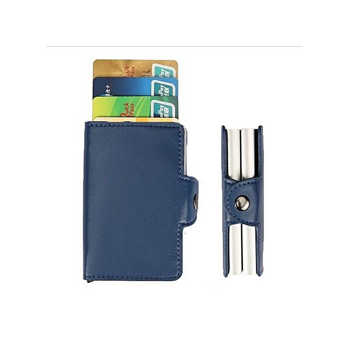 5023a66772d1 RFID Aluminum Leather Men Wallet Card ID Holders Wallet Case Credit  Protector Blue