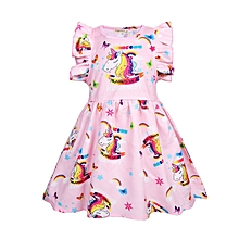 Unicorn Flying Sleeves Child Dress Girl's Princess Dress-Pink