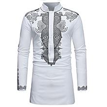 Dress Shirts Ankara Style Dashiki - White