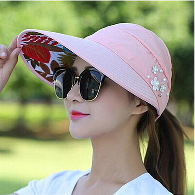 22ac5d5f3 Sun Hats for Women Visors Hat Fishing Fisher Beach Hat UV Protection Cap  Black Casual Womens Summer Caps Ponytail Wide Brim Hat(6 Pink)