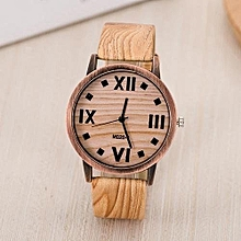 Classic Wood Roman Number Faux Leather Band Quartz Wrist Watch - Brown