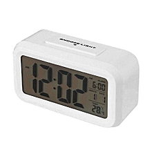 LED Digital Alarm Clock Backlight Time With Calendar + Thermometer (White)