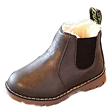 Kids Boys Girls Winter Snow Warm Ankle Boots Zipper Child Chelsea Shoes -Gray