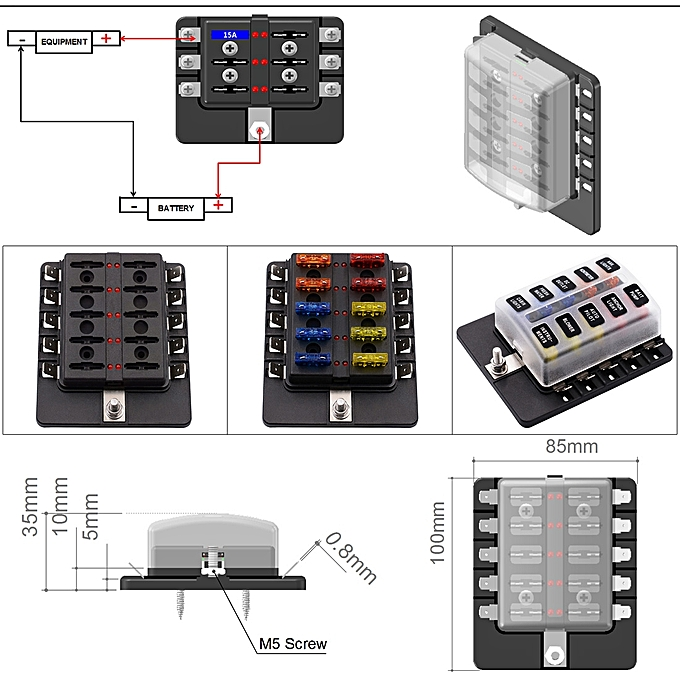 1 in 10 out fuse box pc terminal block fuse holder kits with led  warning indicator