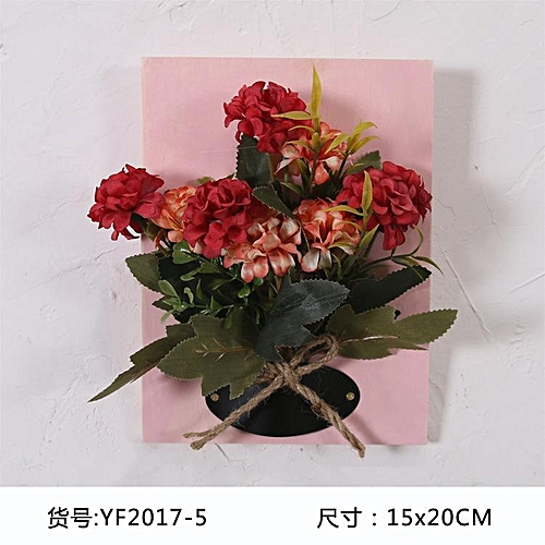 Diy Artificial Flowers For Decoration Wooden Board Wall Hanging Plastic Silk Wedding