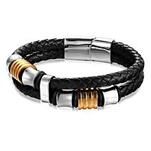Jewelry Titanium Steel Handwoven Leather Men's Bracelet Gold 220mm