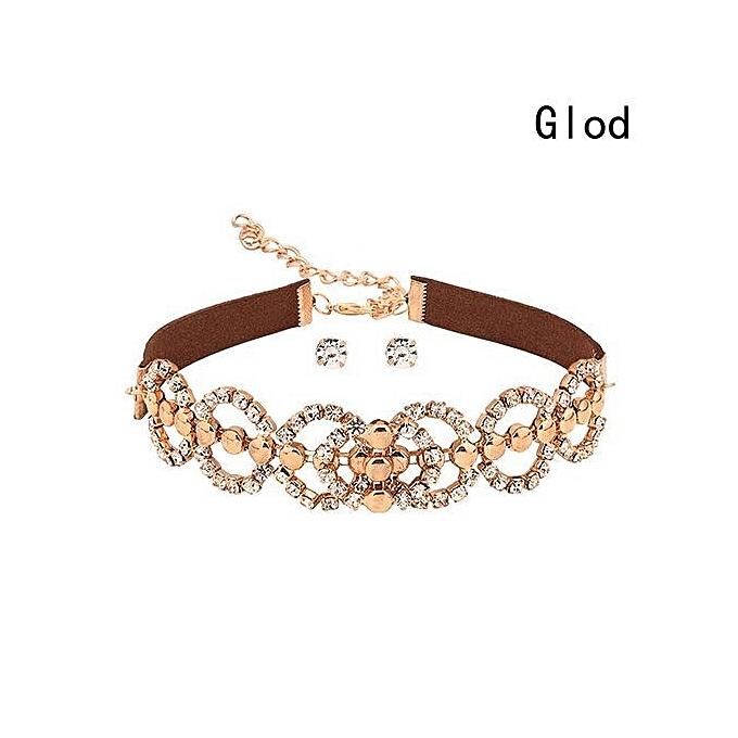 f63327a7c Luxury Diamond Crystal Rhinestone Pendant Choker Collar Gold Silver Chain  Necklace Women Wedding Jewelry Set