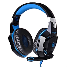 Gaming Headphone 3.5mm Headset PS4 With Mic LED Light-BLUE