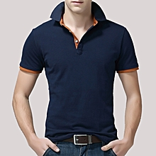 Men's Casual Slim Lapel Golf Shirt Summer Half Sleeve Pure Color Thin Tops Tees