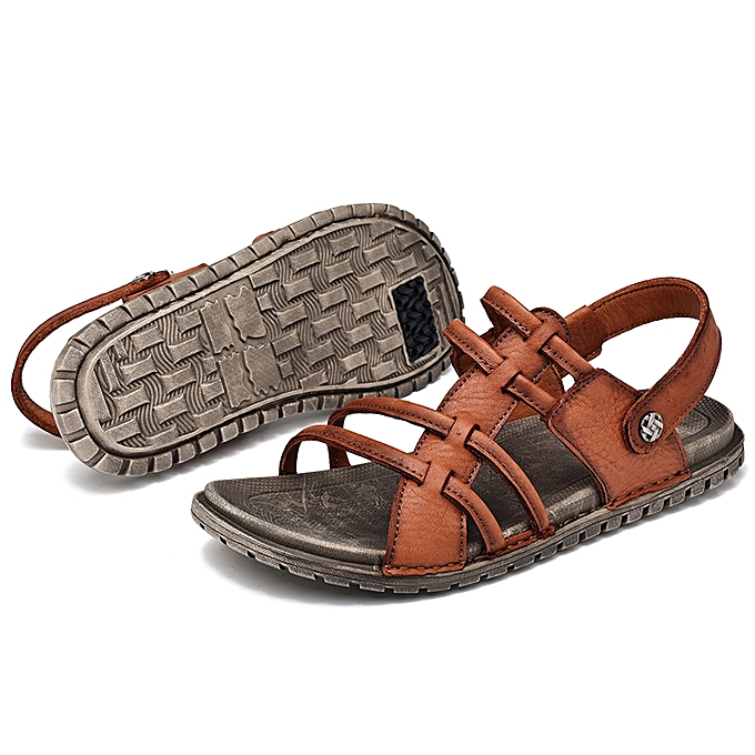 812e7bfa9aa263 Men s Outdoor Beach Shoe Leather Strap Sandals Open Toe Casual Shoes ...