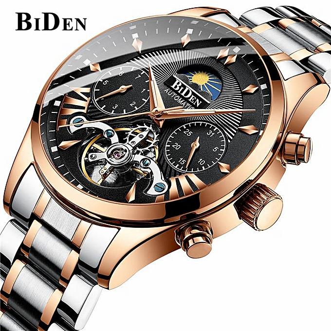 8841fb55f BIDEN Top Brand Luxury Men's Tourbillon Waterproof Mechanical Automatic  Quartz Watches Moon Phase Display Fashion Casual