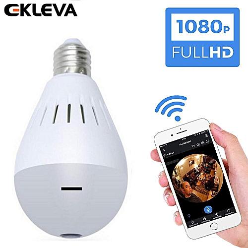 EKLEVA 360°Wide Angle 1080P HD Fisheye WiFi IP Hidden Camera Bulb LED  Lights Indoor Spy Security Camera for Android IOS APP Remote View Spy Nanny
