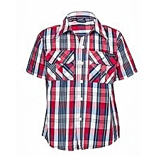 White/ Red/ Navy Blue Checked Shirt