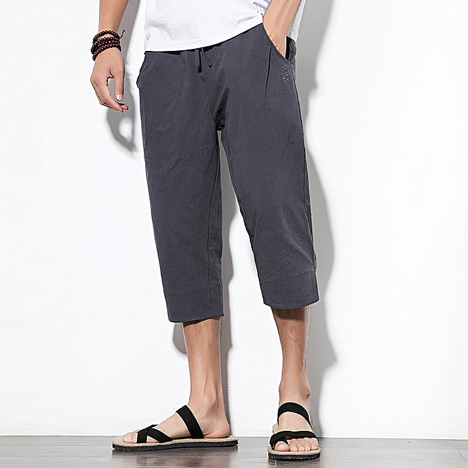 Fashion Chinese Style Linen Cropped Trousers Men S Vintage Large