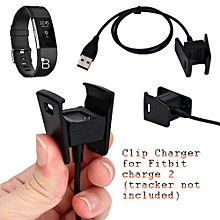 New USB Charger Charging Clip Cable Cord Dock Cradle For Fitbit Charge 2 Tracker-Black