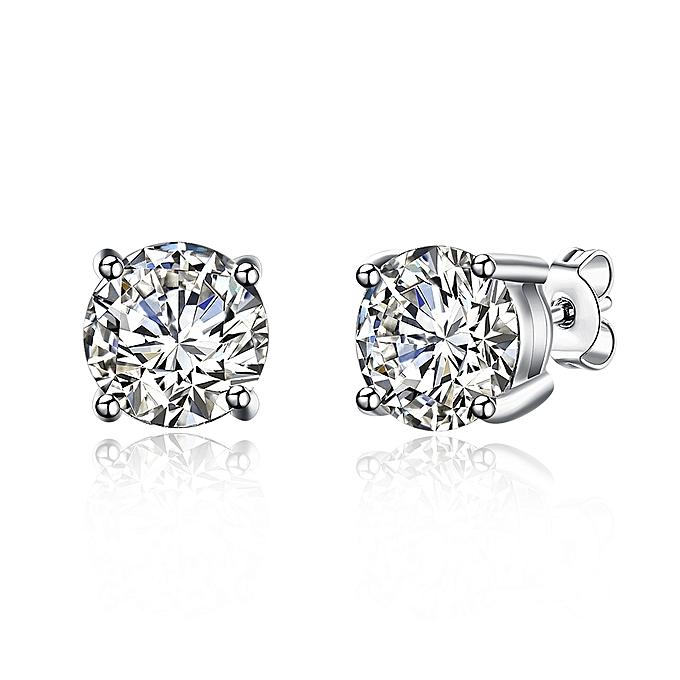 925 8m Diamond Stud Earrings In Sterling Silver