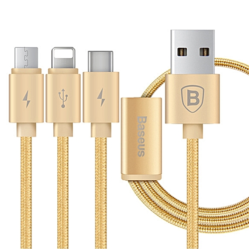 3-in-1 Multifunction USB to Micro USB + Lightning + Type-C Data Charging Cable for IPHONE / Samsung and More - Gold