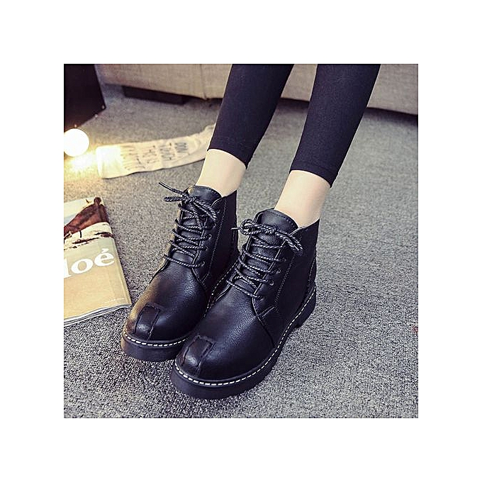 09ceb7087176 Jiahsyc Store Woman Ankle Boots Lace-Up Low Heels Autumn Boot Four Seasons  Shoes BK