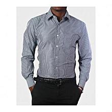 Navy Striped Mens Long Sleeved Shirts