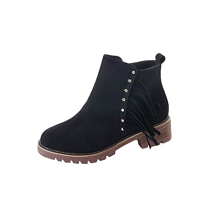 04c6b58b1384 bluerdream-Womens Boots Female Short Booties Ankle Boots Winter Martin Boots  Shoes -Black 36