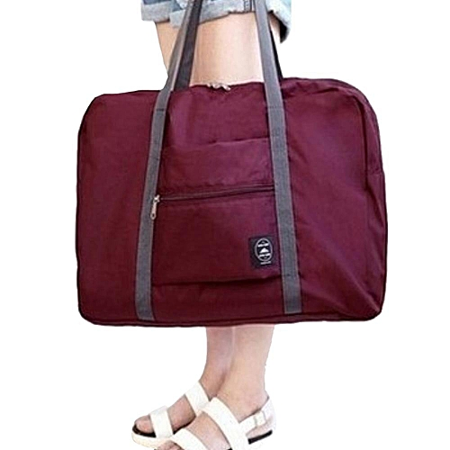 Outdoor Travelling Bag Foldable Luggage Large Capacity Single Shoulder Burgundy