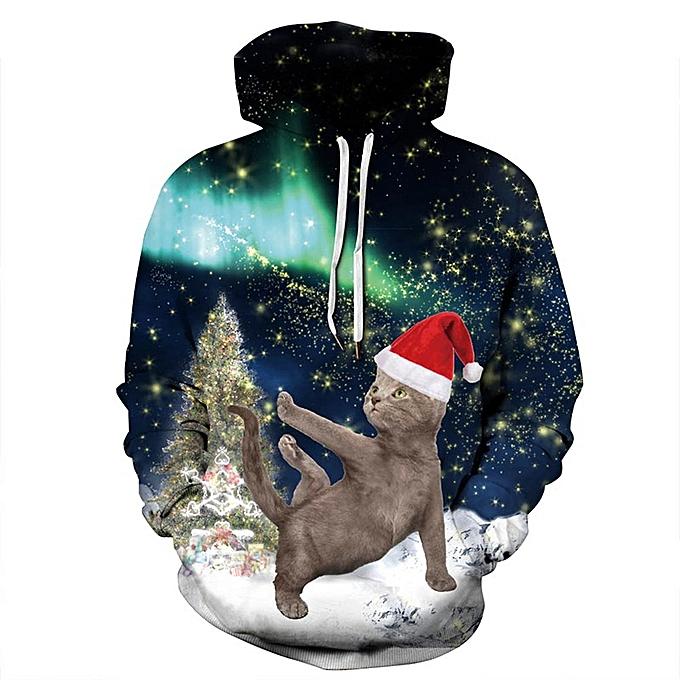Generic New Stylish Christmas Hat Cat Print Hoodie for Men and Women ... f77bdd00c