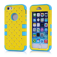 Rubber Hybrid Hard Silicone Shockproof Case Cover For iphone 5 5G 5S YE-Yellow