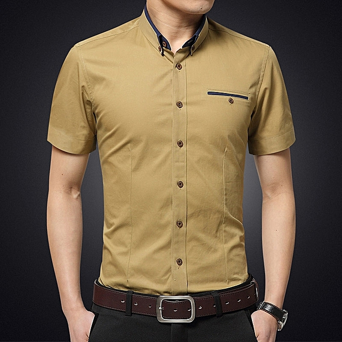fe56781689 Men's Formal Shirts Short Sleeve Slim Fit Business Casual Shirts (Khaki)