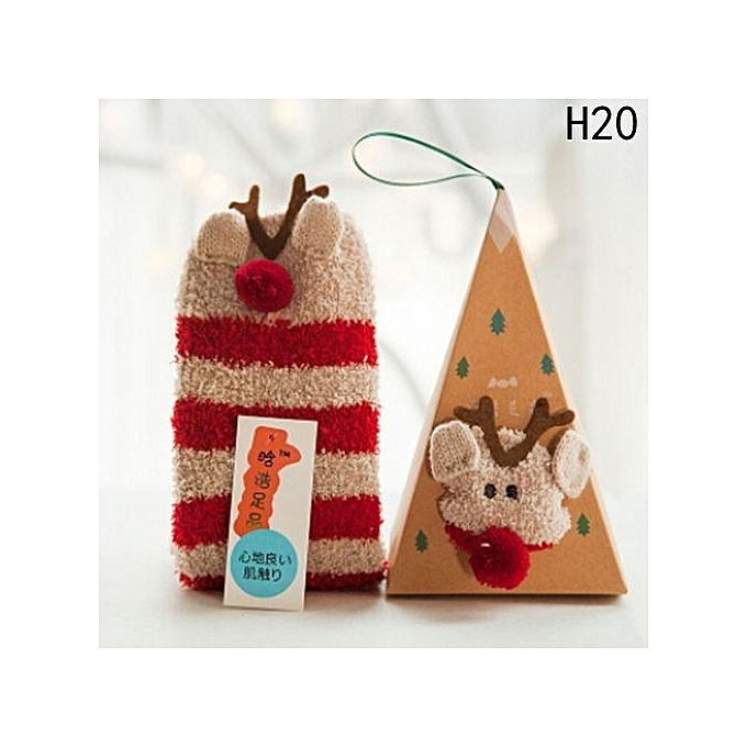 Hequeen 20 Colors Christmas Stockings Creative Adults Kids Gift Set Box Santa Coral Fleece Slipper Socks