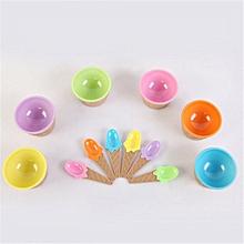 Vibrant Colors Ice Cream Bowls with Spoon PP Plastic Dessert Bowl Yogurt Cups yellow