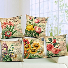 Flowers Pattern Quote Pillow Case Sparkly and Colorful Cotton Linen Vintage Style Cushion Cover