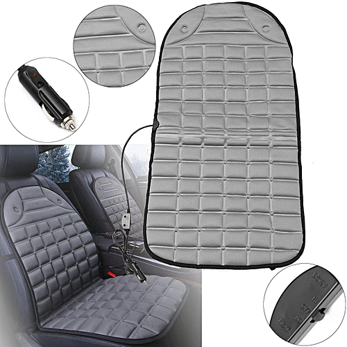 Universal Car Winter Single Seat Electric Heated Heater Cushion Pad Cover 12V DC Grey