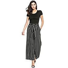 Women Fashion Vintage Style High Waist Striped Culottes Wide Leg Pants With Belt ( Black )