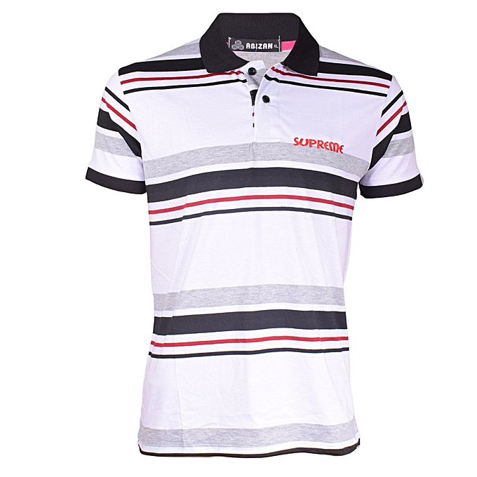 da6f694fc1bd Buy Generic White Black Red Stripped Polo T-shirt   Best Price ...
