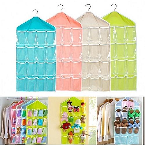 b93e645eb12b 16 Pockets Socks Toy Underwear Sorting Storage Bag Door Wall Hanging Closet  Organizer