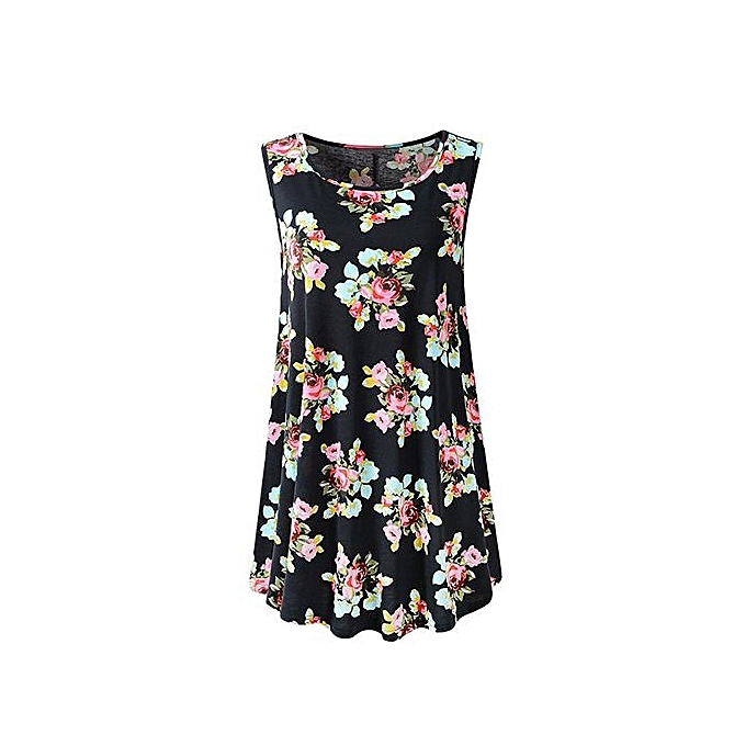 9144b93310ef1 Hiaojbk Store Women's Sleeveless Swing Tunic Summer Floral Flare Tank Top  Blouse Shirt-Black
