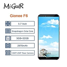 "GioneGionee F6 Mobile Phone Android 7.1 2970mAh 4G 3 + 32G Global Network 5.7"" 18:9 Smartphone"