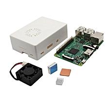 4 In 1 Raspberry Pi 3 Model B + White ABS Case + Aluminum Copper Heat Sink + Cooling Fan Kit