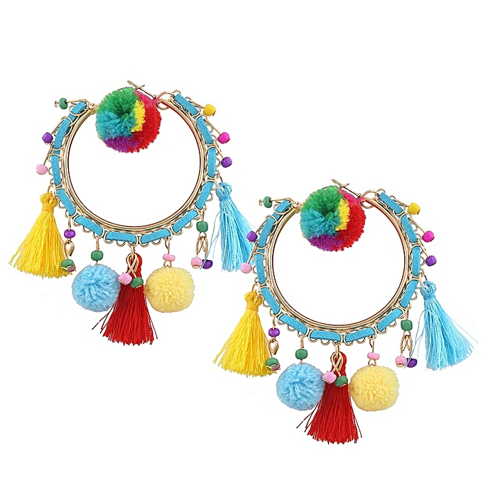 Tel Hoop Earrings For Women Exaggerate Neon Bubble Boho Pompom Ball Large Statement Earring