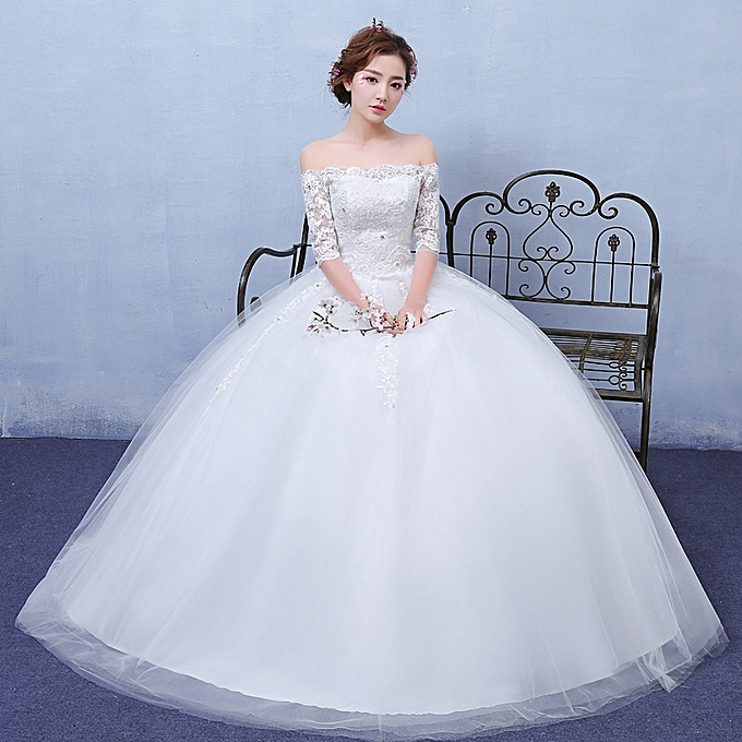 Buy Fashion White Wedding Gowns For Bridedesigner Dresses White
